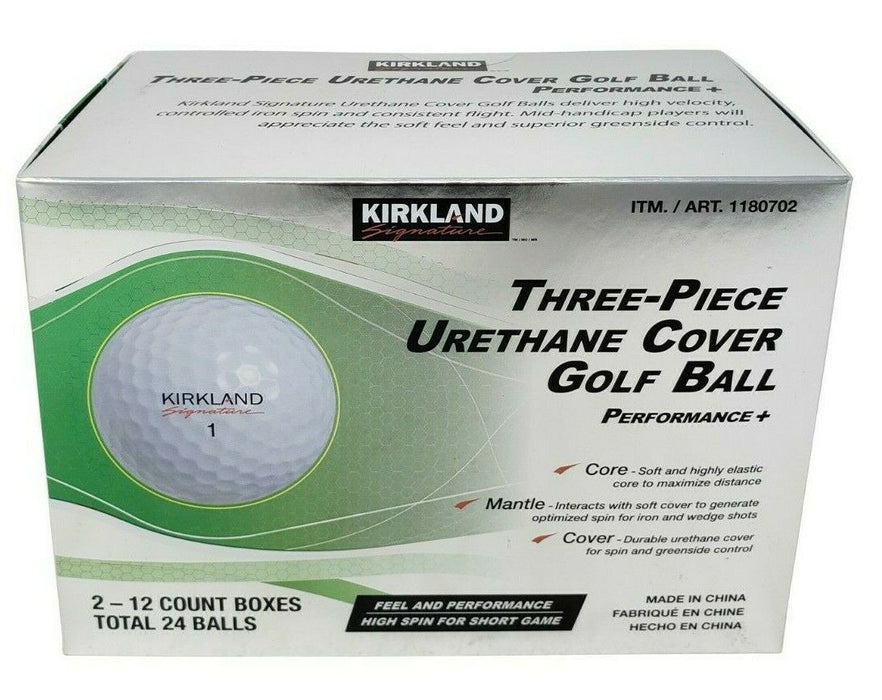 Kirkland Signature Three Piece Urethane Cover Golf Ball - 24 Balls Pack