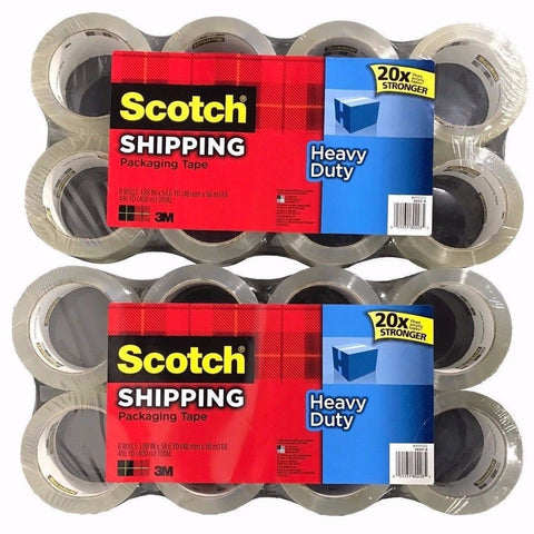 16 Rolls Scotch 3M Heavy Duty Shipping Packaging Tape 1.88in x 54.6yd