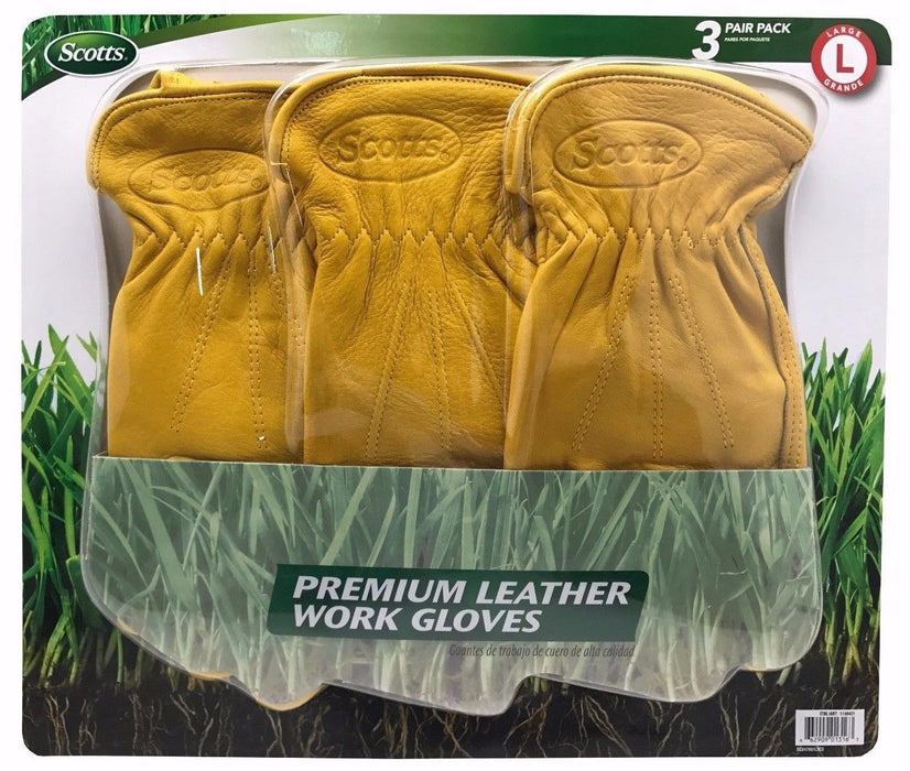 Scotts Premium Leather Work Gloves 100% Cowhide 3 Pair Pack - Large