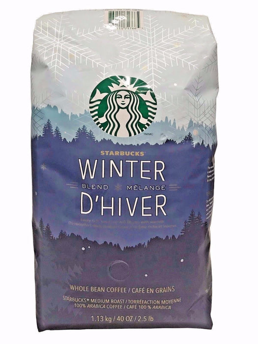 Starbucks Winter Blend D'hiver Medium Roast Whole Bean 100% Arabica Coffee 2.5LB