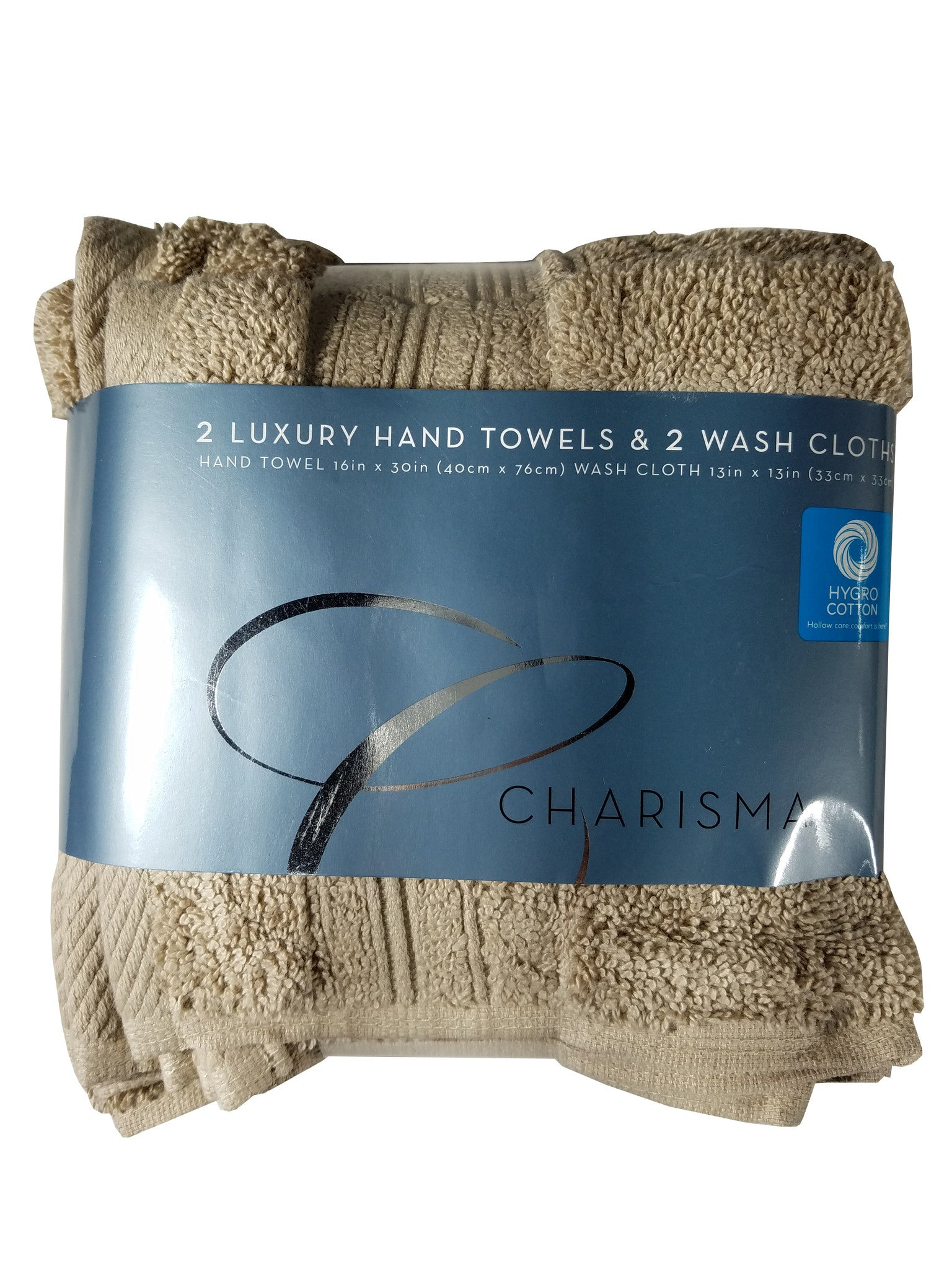 Charisma Luxury Towels 2-Hand Towels 2-Wash Cloths 100% Hygro Cotton 4 Pack [Khaki]