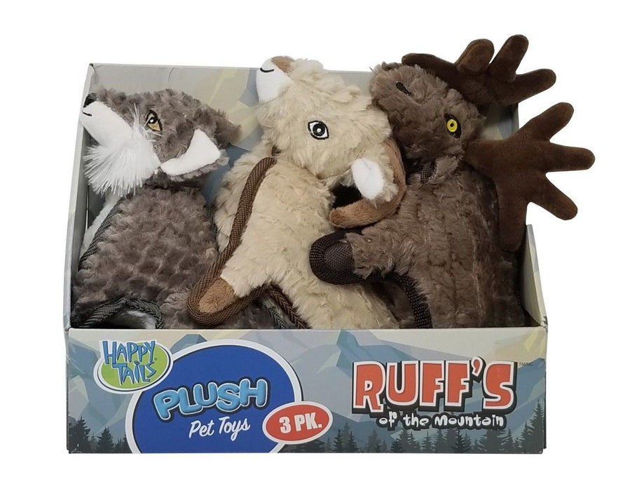 Happy Tails Plush Pet Toys Ruff's of The Mountain, Fetch/Snuggle/Chew - 3 Pack