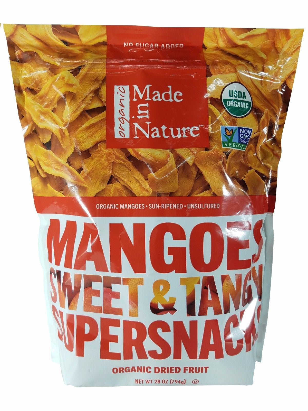 Made in Nature Organic Mangoes Sweet and Tangy Supersnacks Dried Fruit 28 OZ