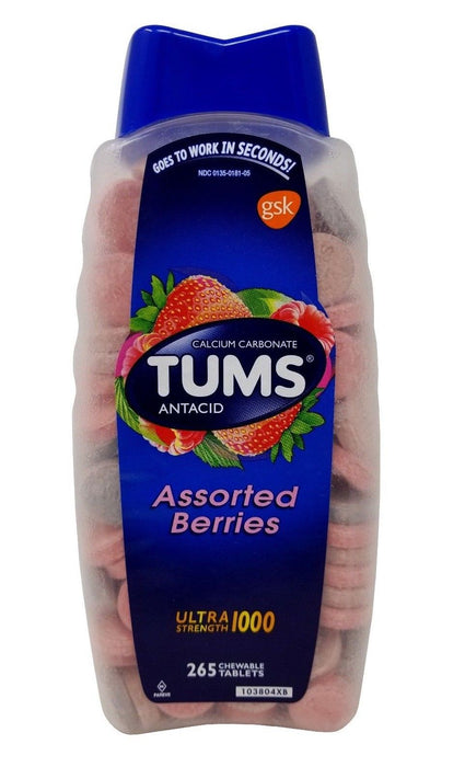 Tums Antacid Calcium Carbonate Ultra Strength Assorted Berries 265 Chew Tablets