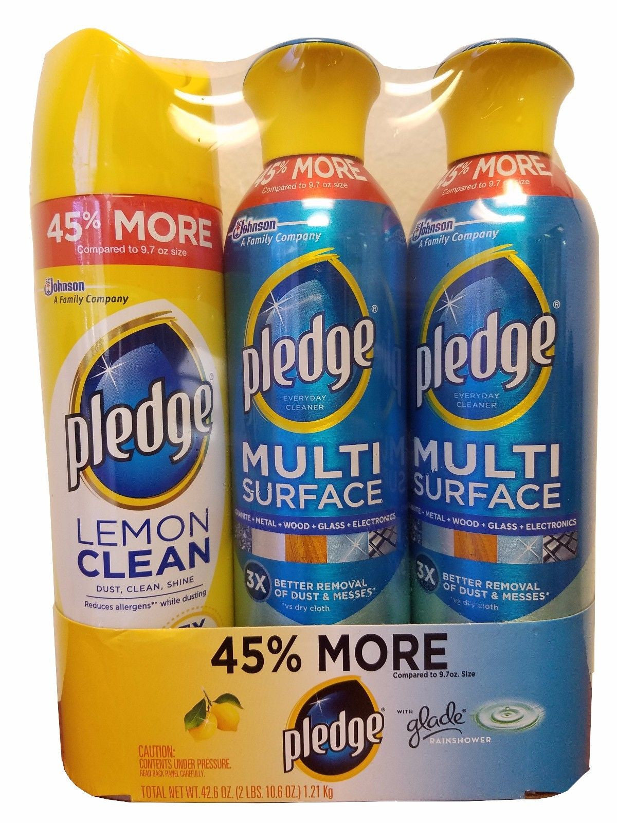 Pledge Dust Removers 1 Lemon Clean & 2 Multi Surface Cleaners 42.6OZ 3 Pack