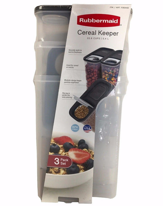 Rubbermaid Cereal Keeper 22.8 Cups/5.4L Each Flip Flop Seal for Freshness 3 Pack
