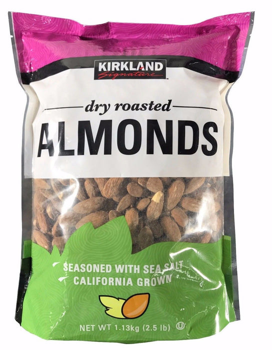 Kirkland Signature Dry Roasted Almonds Seasoned with Sea Salt 2.5 LB