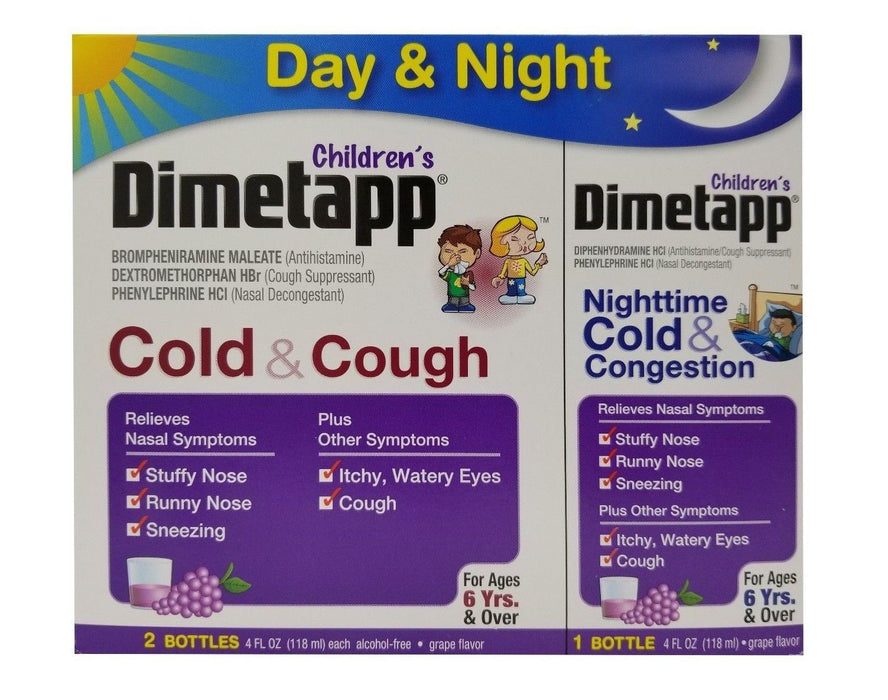 Children's Dimetapp Cold/Cough for Day/Night Grape Flavor 4 FL OZ Each 3 Pack