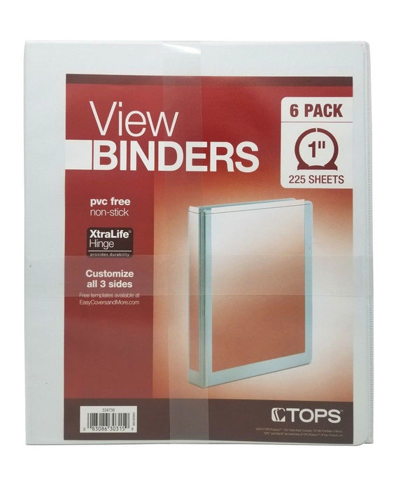 "Tops View Binders 1"" 225 Sheets Pvc Free Non-Stick 6 Pack"