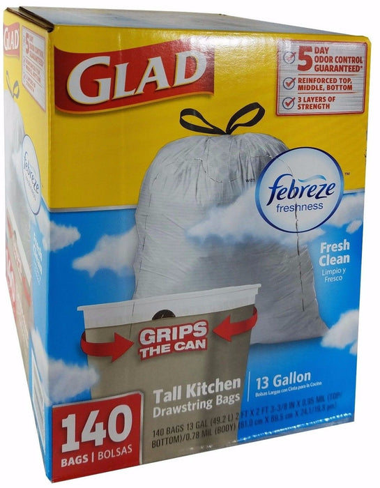 Glad Febreze 5 Day Odor Control 13 Gallon Tall Kitchen Drawstring 140 Bags