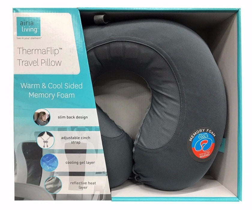 Airia Living Thermaflip Travel Pillow Warm & Cool Sided Memory Foam - Gray
