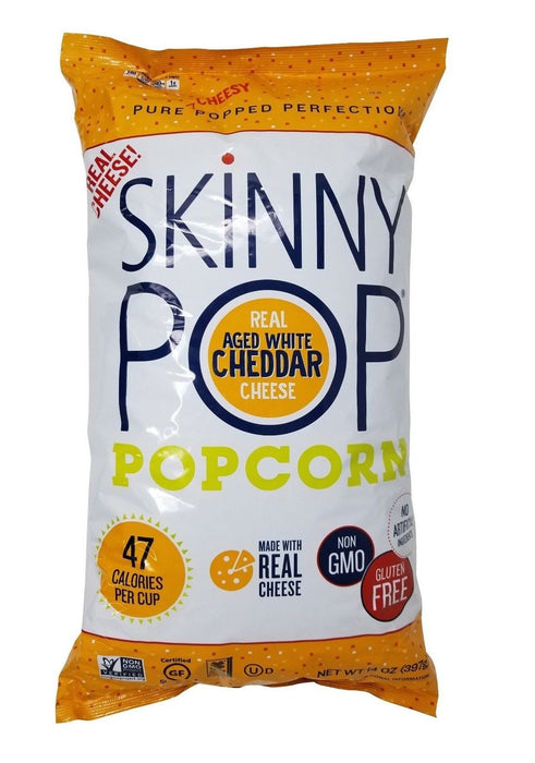 Skinny Pop Popcorn Pure Popped Perfection Real Aged White Cheddar Cheese 14 OZ