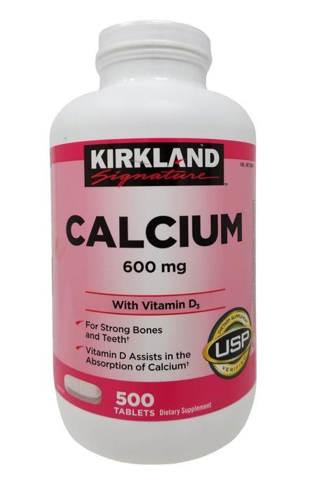 Kirkland Signature Calcium 600mg with Vitamin D3 Dietary Supplement 500 Tablets