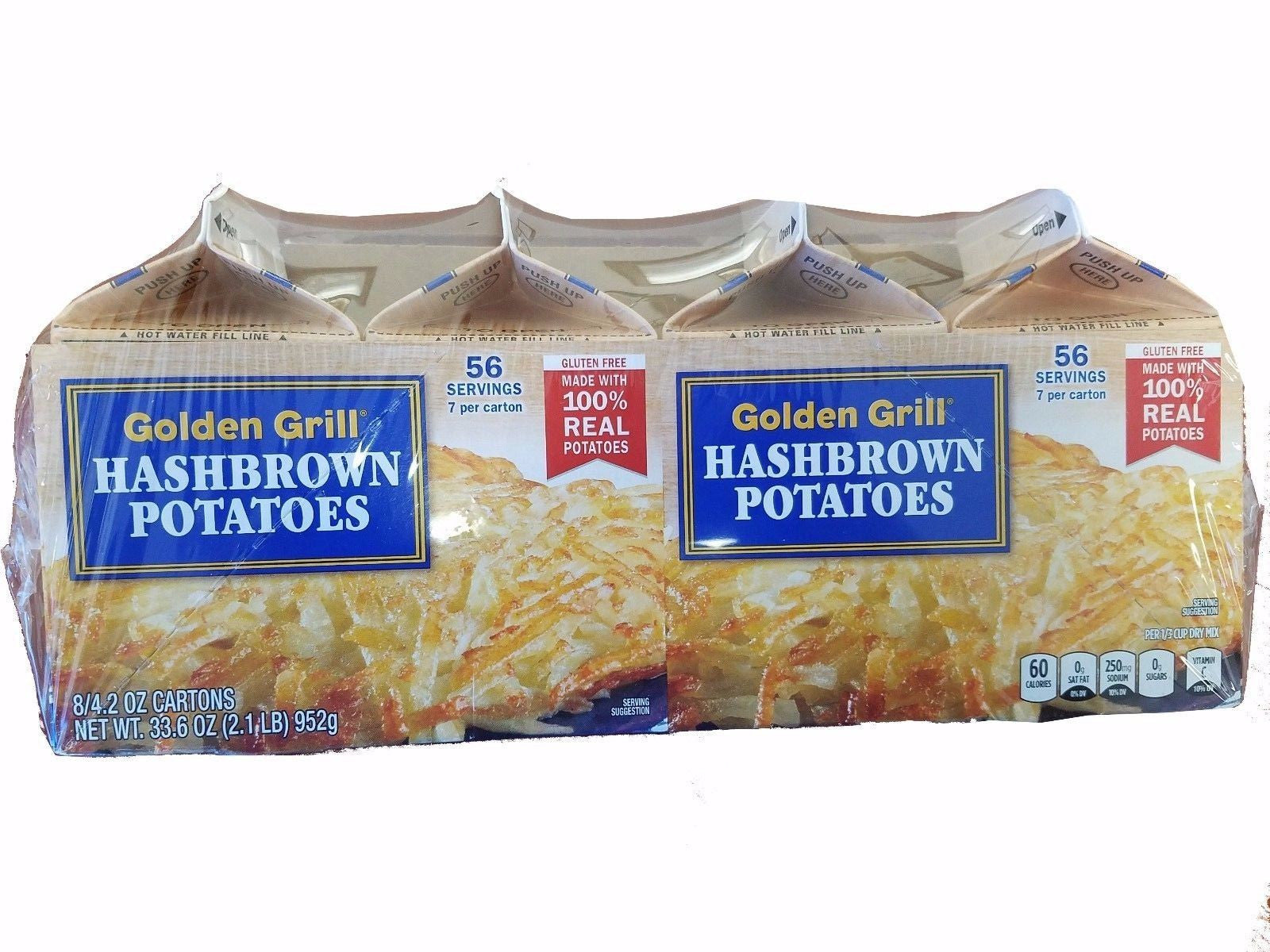 Golden Grill Hashbrown 100% Real Potatoes 56 Servings Gluten Free 33.6oz (2.1LB)