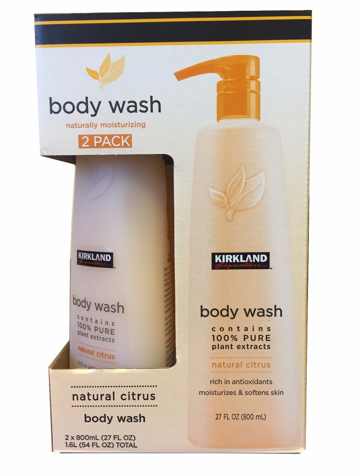 Kirkland Signature Body Wash 100% Pure Plant Extracts Natural Citrus 54oz 2 Pack