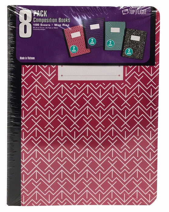 "Top Flight 8pk Composition Books 100 Sheets Wide Rule 9.75x7.5"" Red/Blue/Grn/Blk"