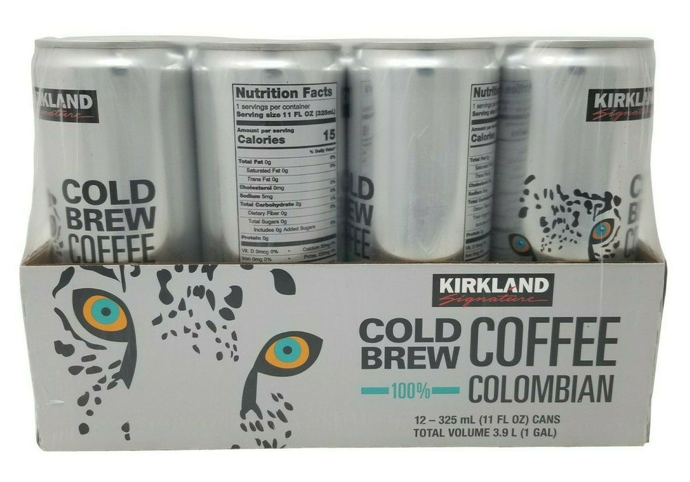 Kirkland Signature Cold Brew Coffee 100% Colombian - 12 Cans