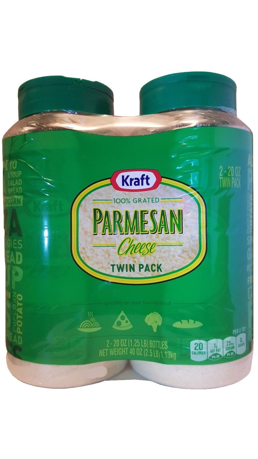Kraft 100% Grated Parmesan Cheese Large Twin Pack 2.5 lb (40 oz)