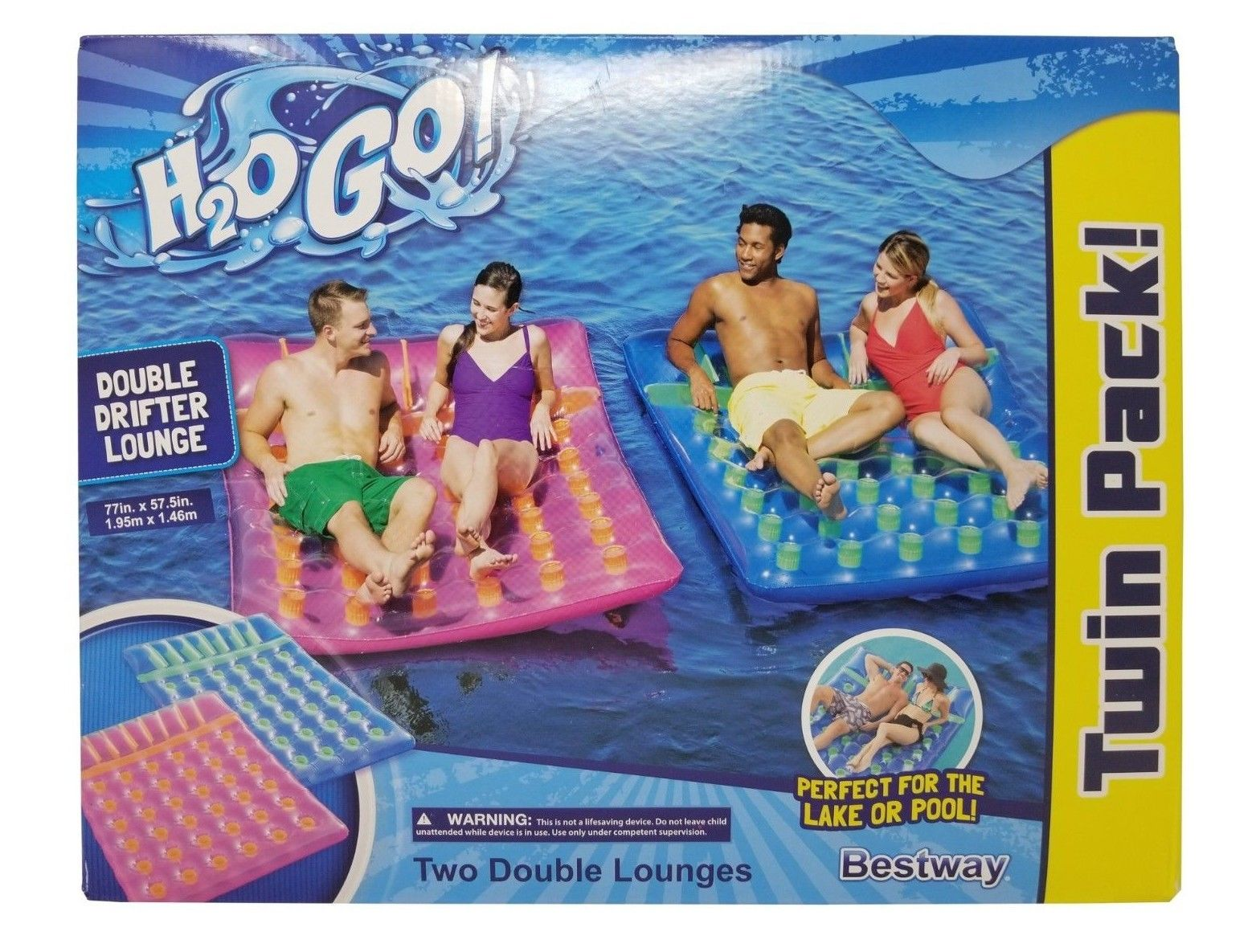 Bestway H2O Go! Double Drifter Lounges 77 x 57.5 inches - Twin Pack