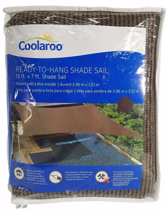 Coolaroo Ready To Hang Shade Sail with Ropes 13x7 ft - Mocha