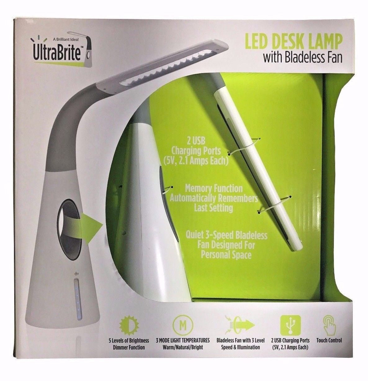 UltraBrite LED Desk Lamp with Bladeless Fan 2 USB Charging ...