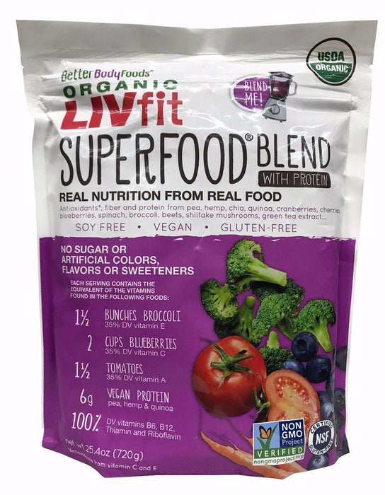 Better Body Foods Organic Livfit Superfood Blend with Protein 25.4 OZ