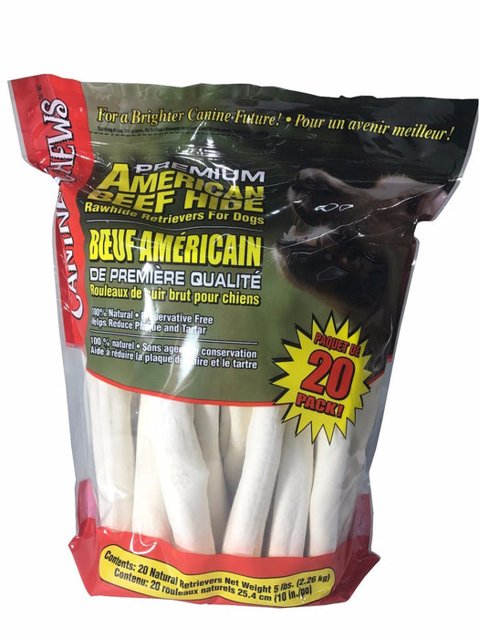 Canine Chews Premium American Beef Hide 20 Pack Rawhide Retrievers for Dogs 5LB