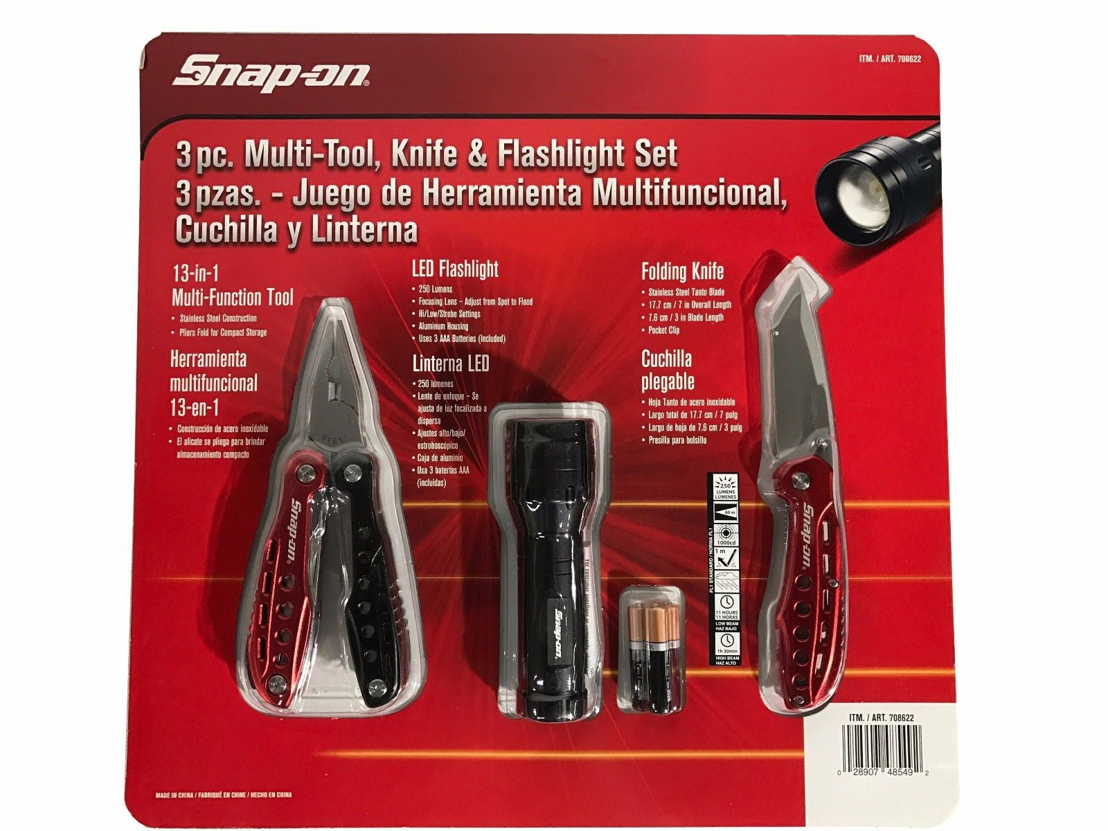 Snap-on 3 Piece Set - Knife, Flashlight & 13-in-1 Multi Function Tool
