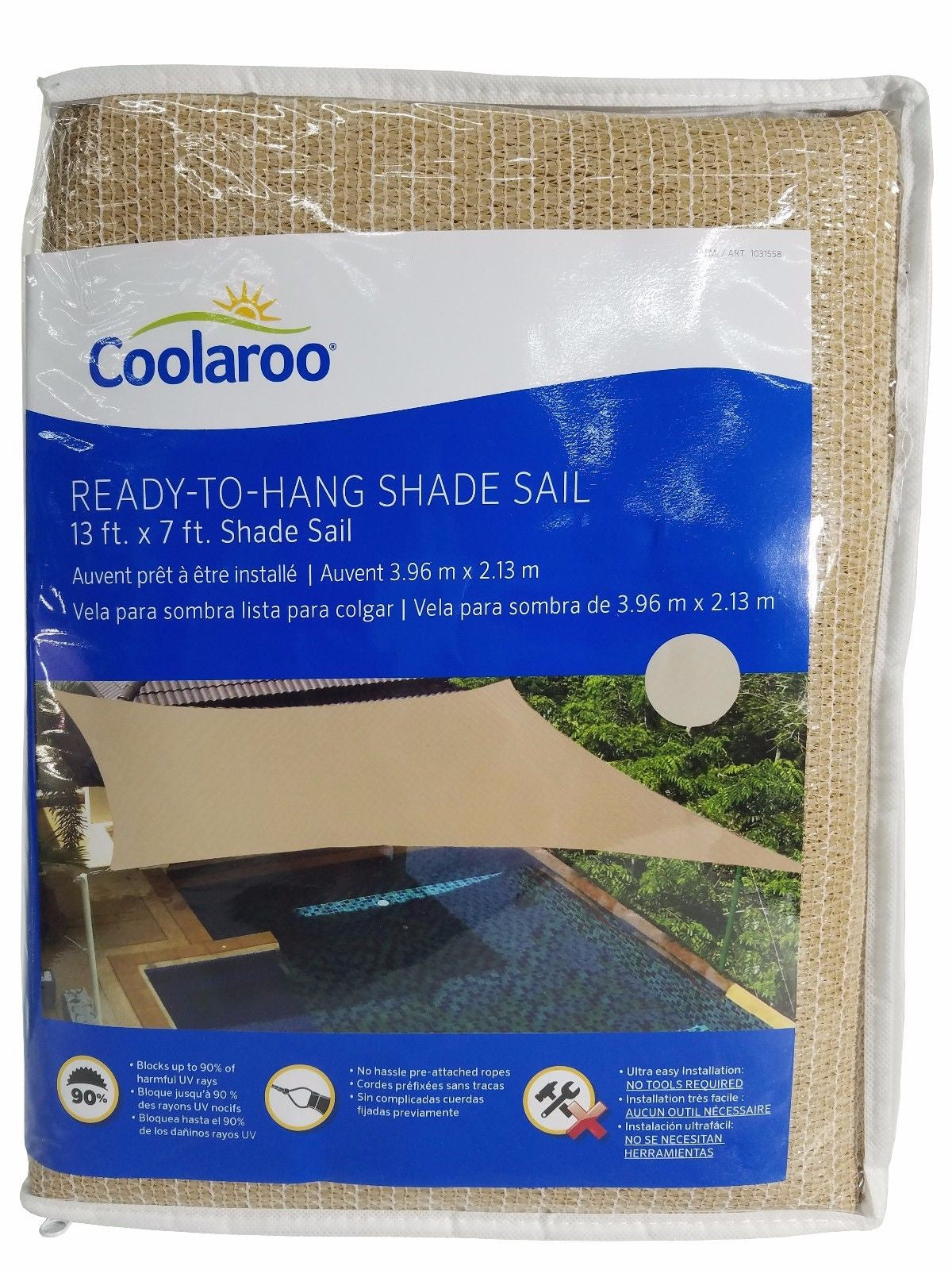 Coolaroo Ready To Hang Shade Sail with Ropes 13x7 ft - Desert Sand