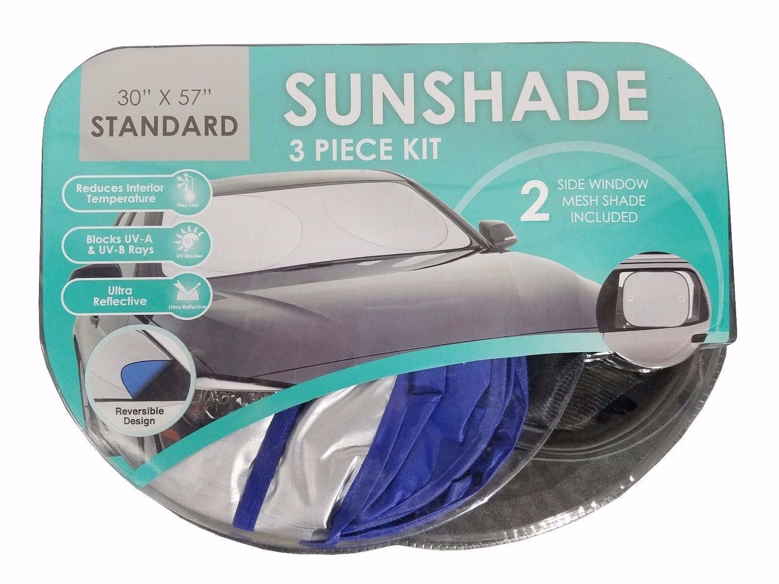 Winplus Sunshade 3 Piece Kit Ultra Reflective Blocks UV-A & UV-B Rays Standard