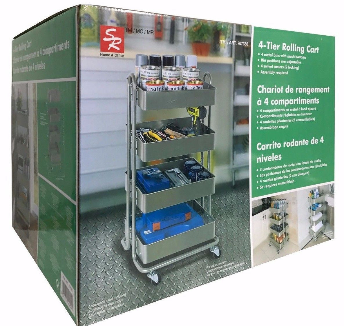 SR 4-Tier Rolling Cart with 4 Adjustable Metal Bins with Mesh Bottoms Indoor Use
