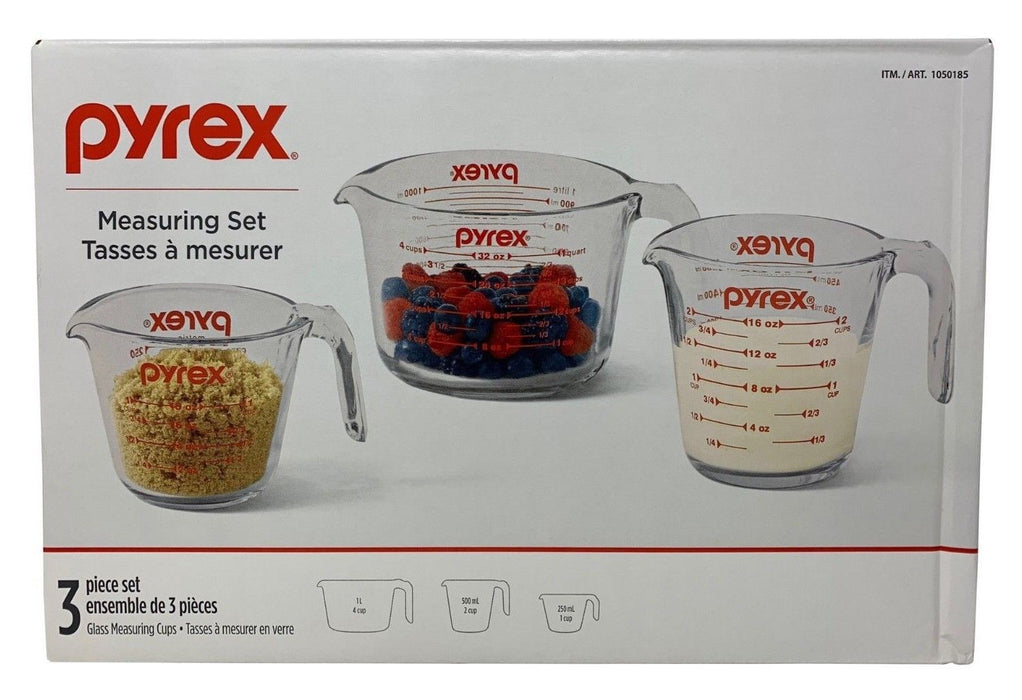 Pyrex 3 Piece Glass Measuring Cup Set - Microwave, Freezer, Dishwasher Safe