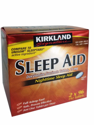 Kirkland Signature Nighttime Sleep Aid Doxylamine Succinate 25 mg 192 Tablets