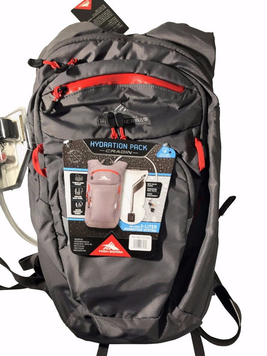 High Sierra 2L Hydration Pack Cragin Cycling Hiking Back Pack Bite Valve - Grey