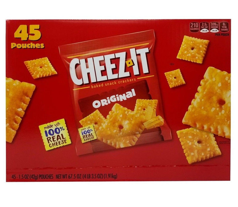 Cheez It Original Baked Snack Crackers 100% Real Cheese 45 Pouches Net 4LB 3.5OZ