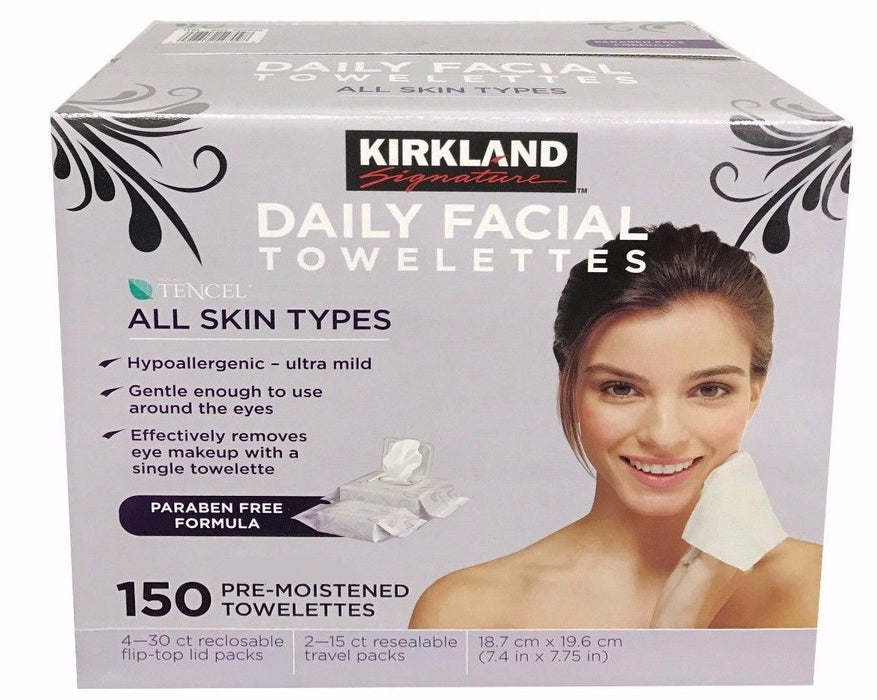 Kirkland Daily Facial Towelletts Tencel All Skin Types 150 Pre-Moistened Towels