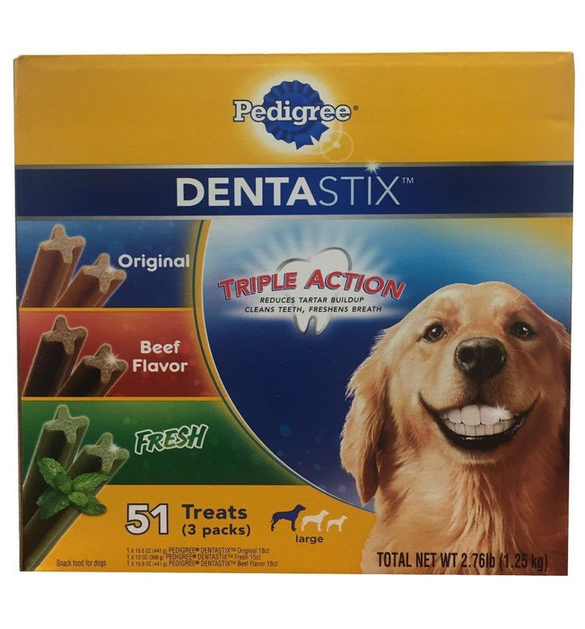 Pedigree Dentastix Triple Action (Original, Beef flavor, Fresh) 51 Treats 2.76LB