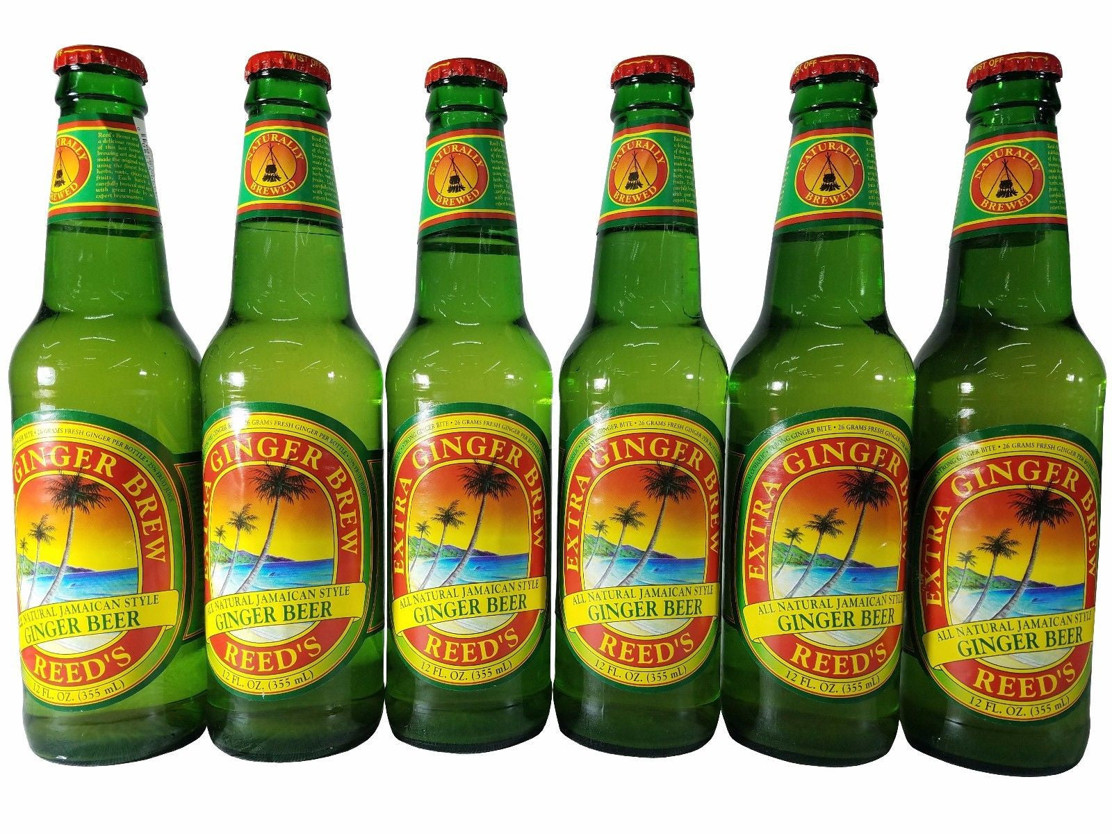 Reed's Extra Ginger Brew Jamaican Style Ginger Beer 12 OZ Non-Alcoholic 6 Pack