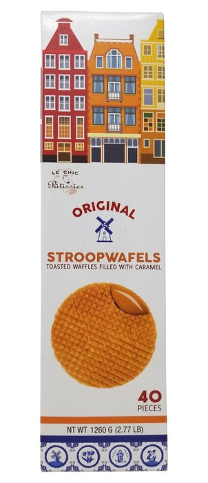 Le Chic Original Stroopwafels Toasted Waffles Filled with Caramel 40 Pcs 2.77 LB