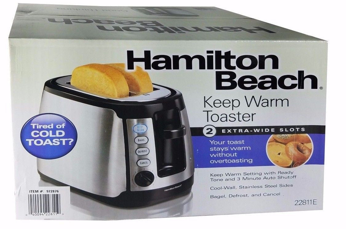 Hamilton Beach Keep Warm Toaster 2-Slice Extra-Wide Slots - Toast Stays Warm