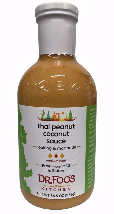 Dr Foo's Kitchen Thai Peanut Coconut Sauce for Cooking & Marinade 34.5 OZ