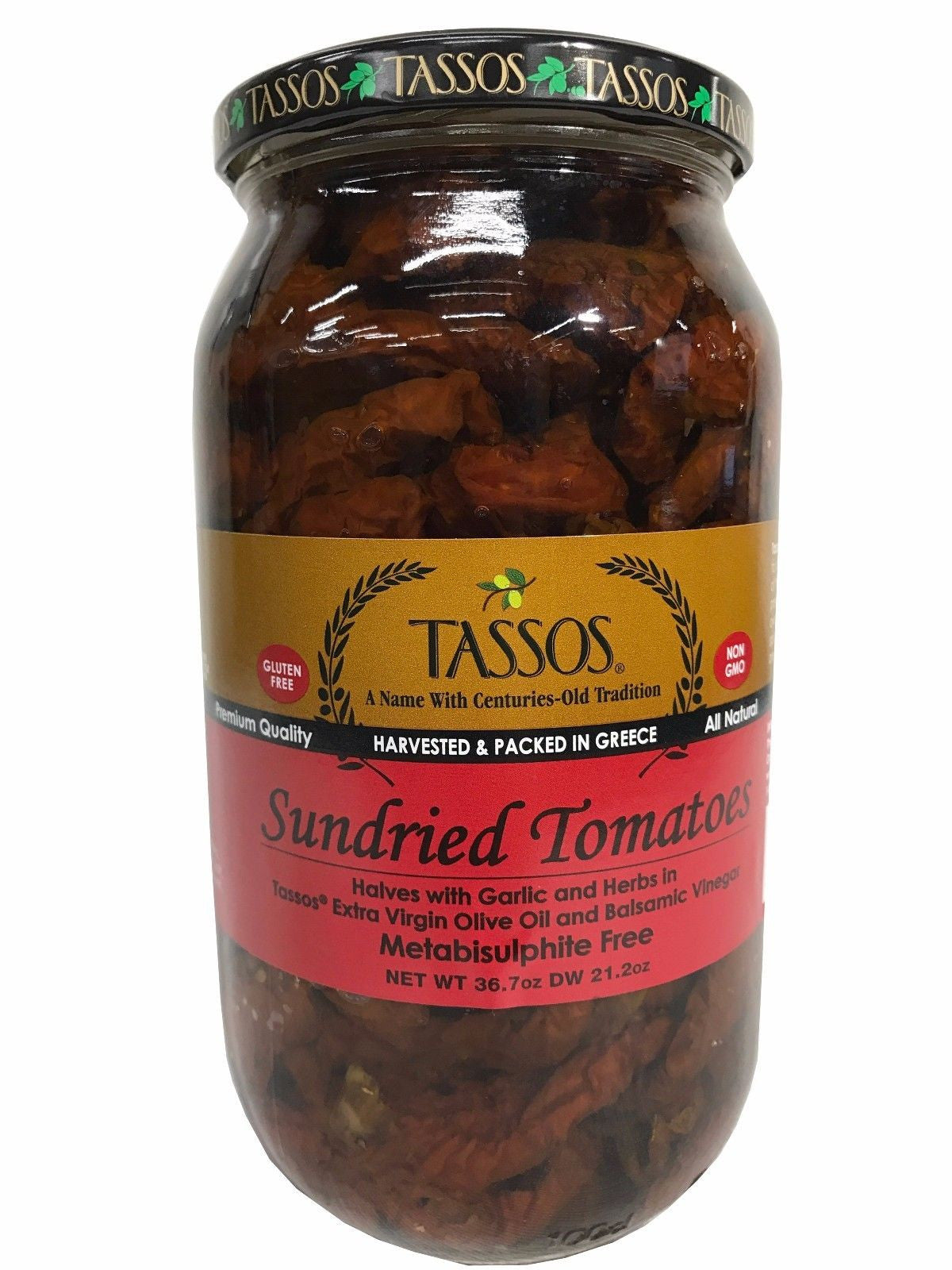 Tassos Sundried Tomatoes with Garlic, Herbs, Olive oil, Balsamic Vinegar 36.7oz