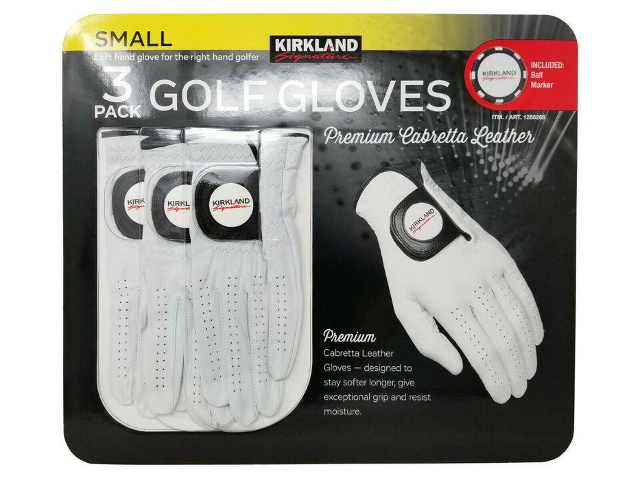 Kirkland Signature Golf Gloves Premium Cabretta Leather 3 Pack - Small
