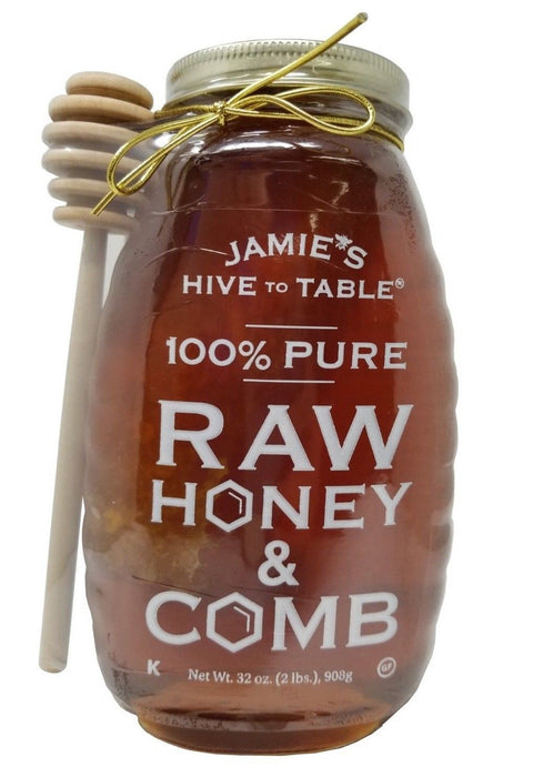 Jamie's Hive To Table 100% Pure Raw Honey & Comb 32 OZ