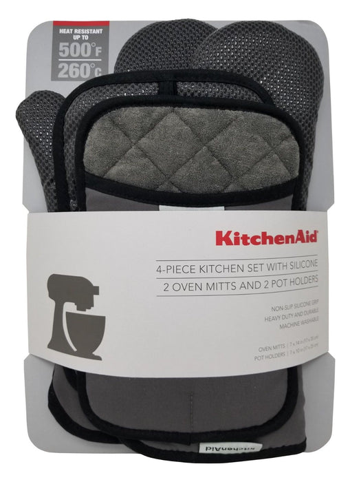KitchenAid 4 Pc Kitchen Set with Silicone, 2 Oven Mitts & 2 Pot Holders - Gray