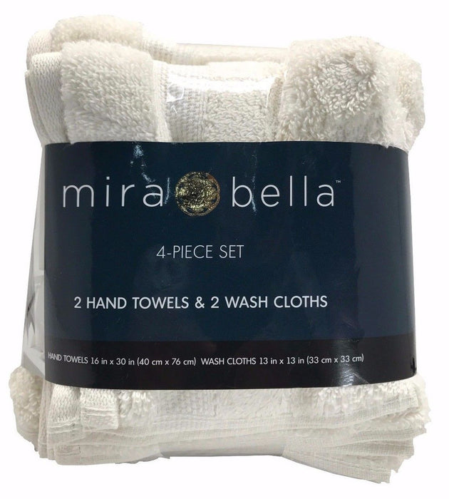 "Mira Bella 2 Hand Towels 16x30"" & 2 Wash Cloths 13x13"" Four Piece Set - Shell"