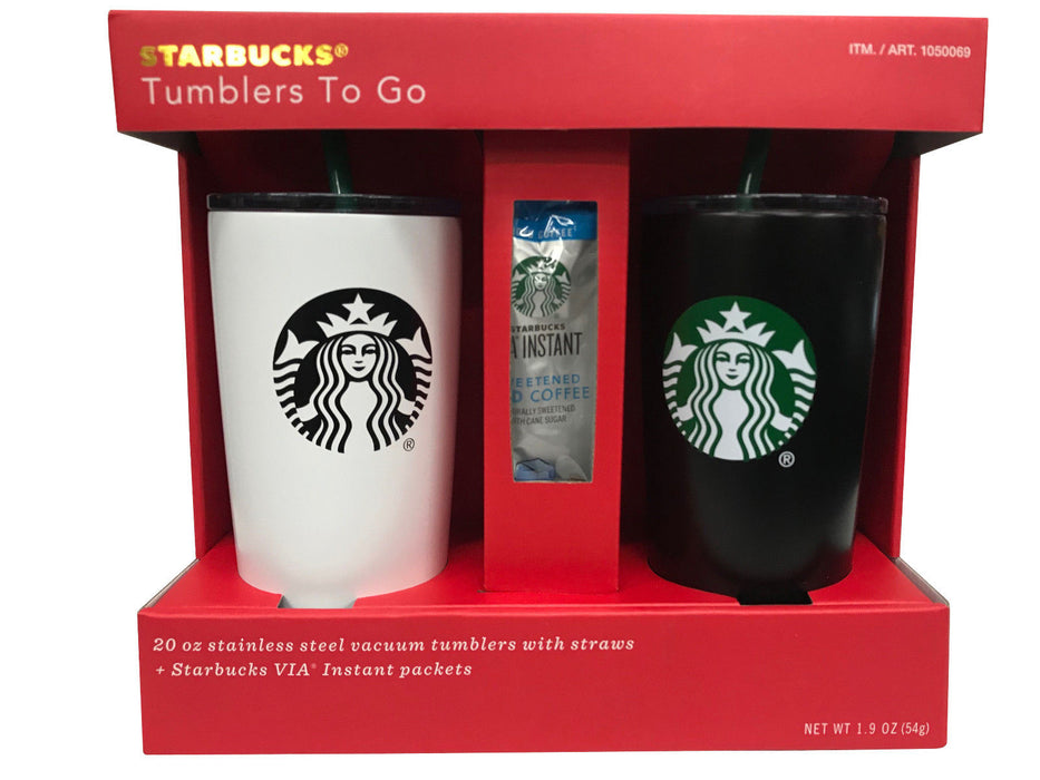 Starbucks Tumblers To Go 20 OZ Stainless Steel Vacuum Tumblers with Straws 2 Pk