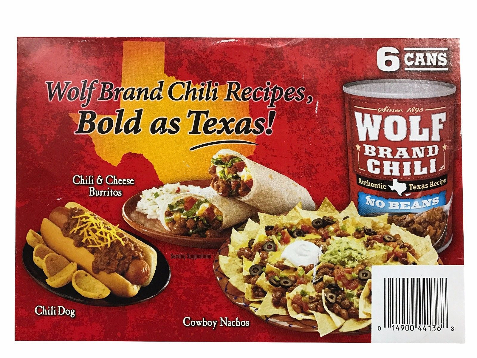 Wolf Brand Authentic Texas Chili Recipe with No Beans 6 Cans 15oz Each