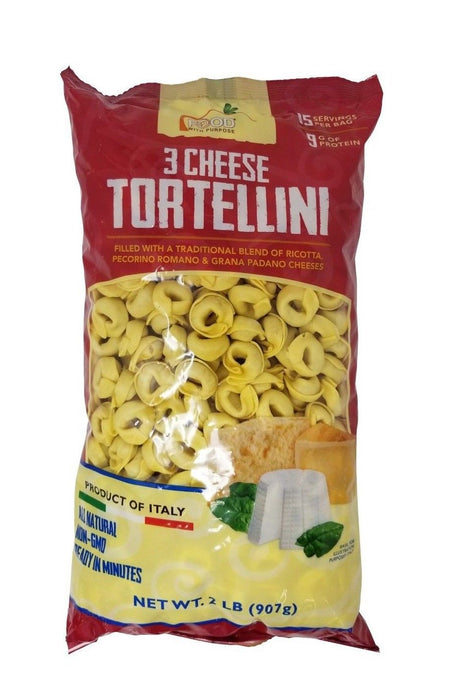 Food with Purpose 3 Cheese Tortellini All Natural, 15 Servings, From Italy 2 LB