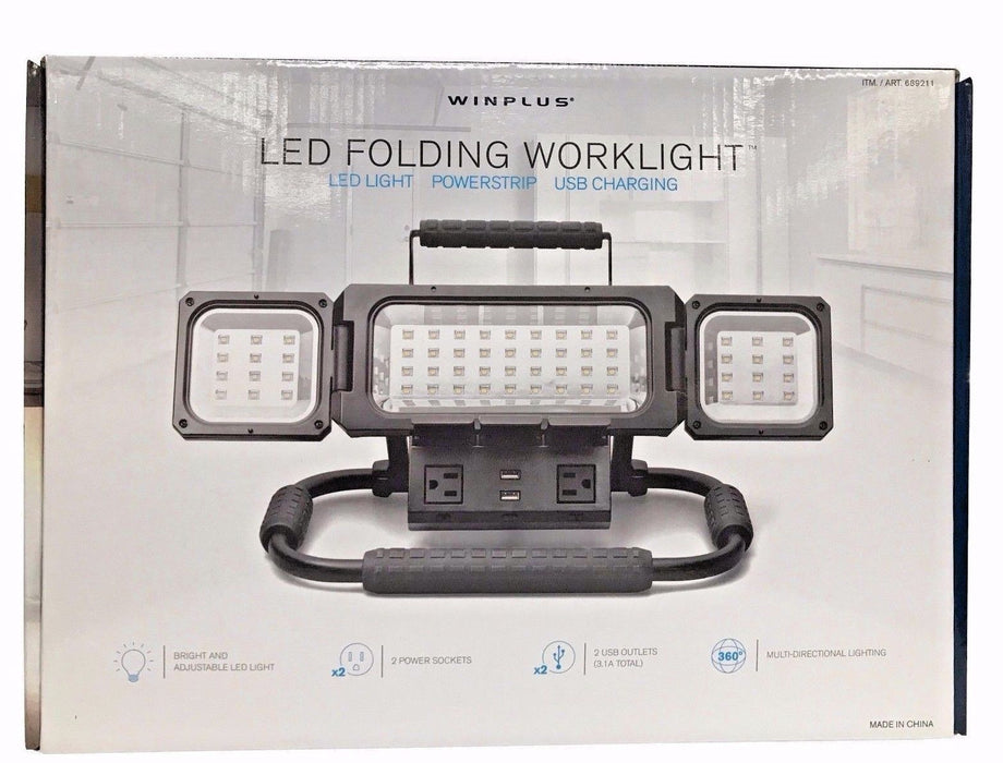 Winplus LED Folding Worklight 2100 Lumens with 2 Power Sockets & 2 USB Outlets